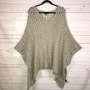 ANGL Open Knit Crochet Poncho Sweater S/M